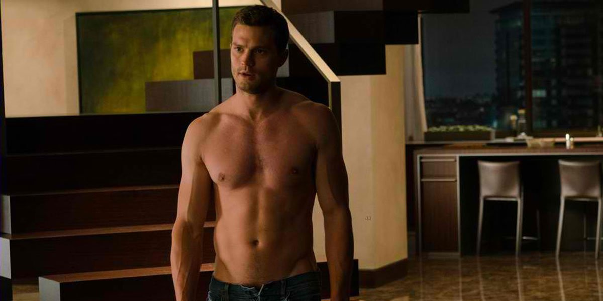 Jamie Dornan shirtless in Fifty Shades of Grey red room