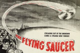 Promotional poster for the 1950 film 'The Flying Saucer.'
