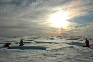 Arctic researchers with the midnight sun.