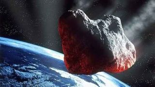 Artist conception of an asteroid headed for Earth