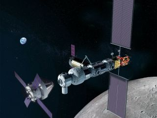 Artist's illustration of NASA's Orion spacecraft (left) approaching the Gateway in lunar orbit.