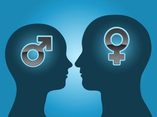 Male and female silhouettes with gender signs.