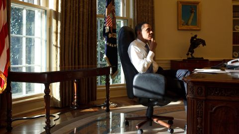 Barack Obama in the oval office.