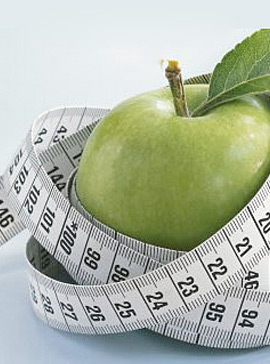 Apple with tape measure-diet tips-weight loss-woman and home