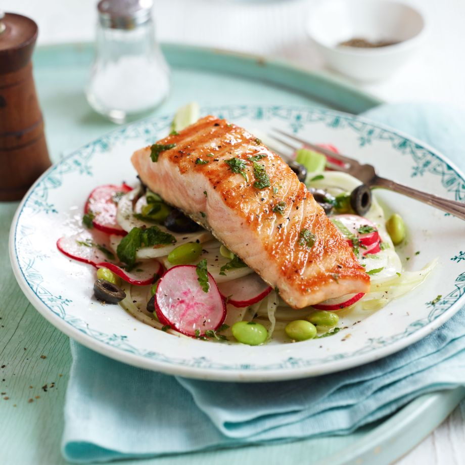 Lightly Smoked Salmon Fillets with Fennel, Radish and Black Olive Salad Recipe