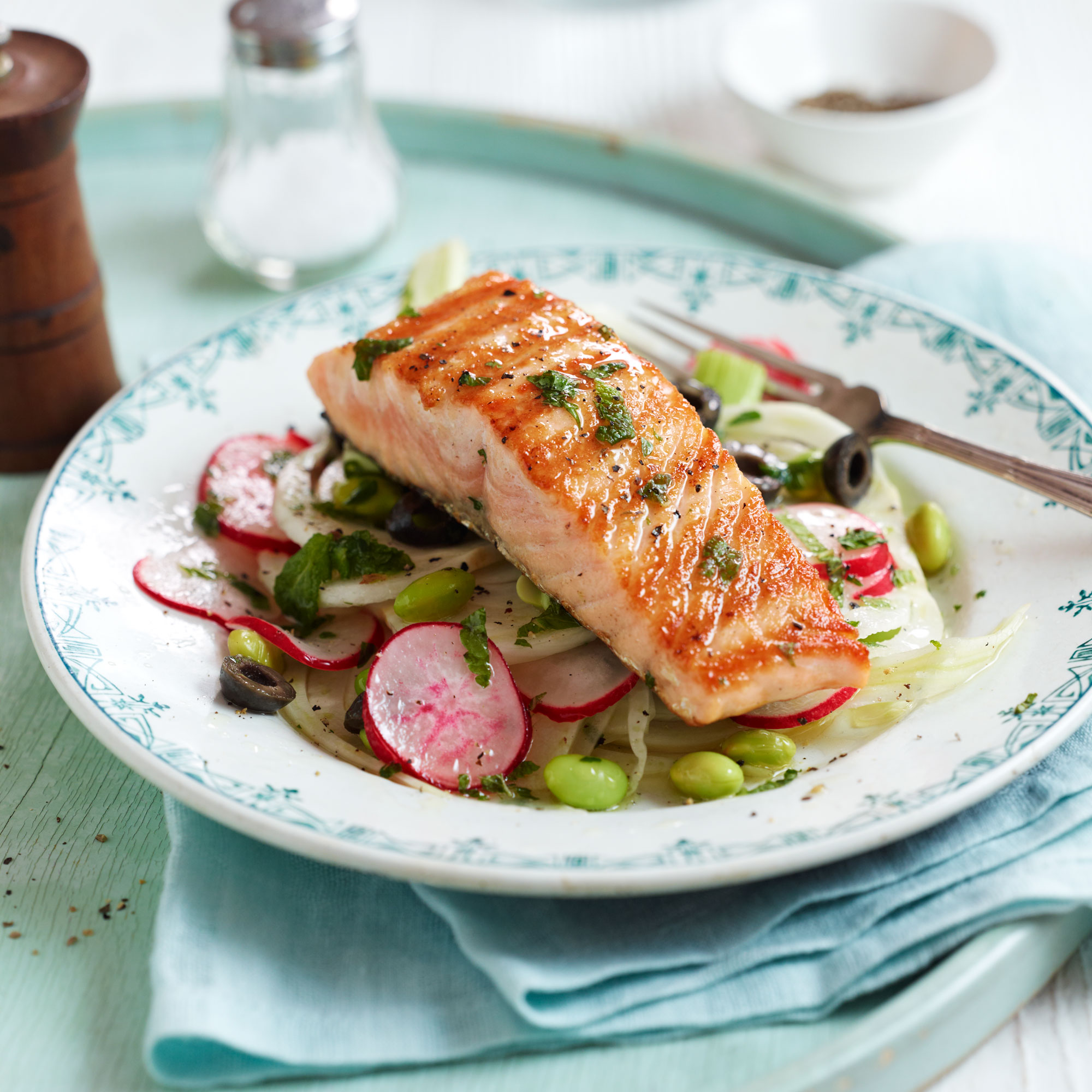 Lightly Smoked Salmon Fillets With Fennel Radish And Black Olive Salad Main Course Recipes Woman Home