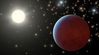 An artist's depiction of a star and its planet.