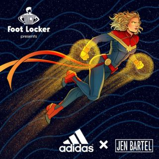 Jen Bartel and Adidas team up for Captain Marvel sneakers.
