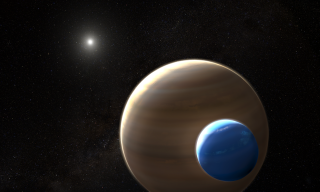 An artist's depiction of a star, an exoplanet and an exomoon.