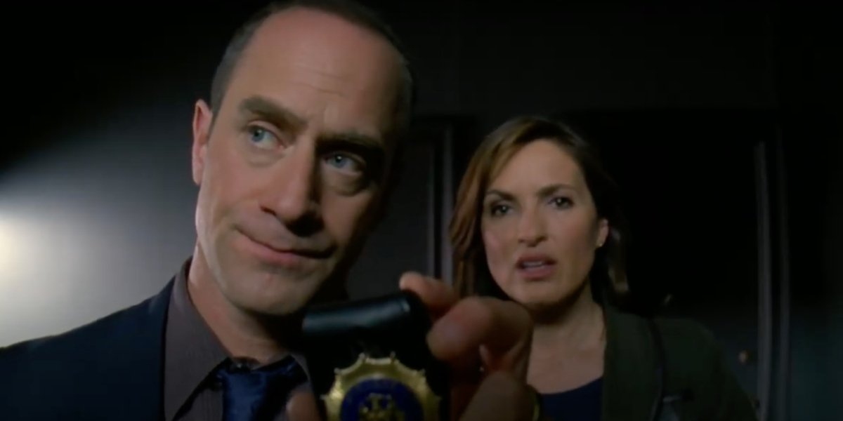 Mariska Hargitay and Christopher Meloni on Law And Order: SVU