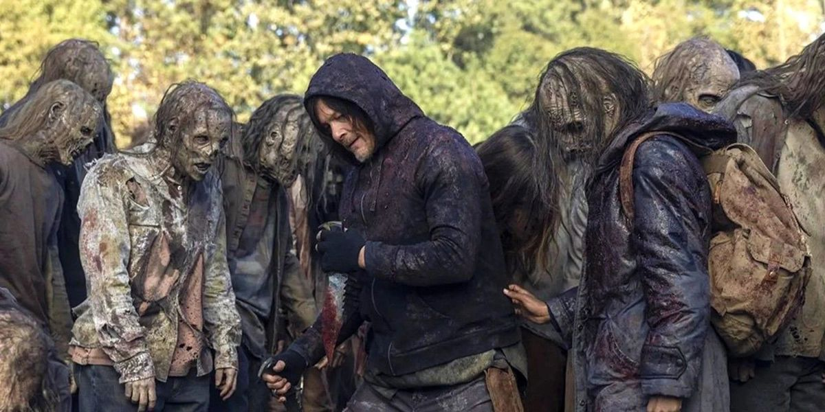 Daryl among the Whisperers in The Walking Dead.