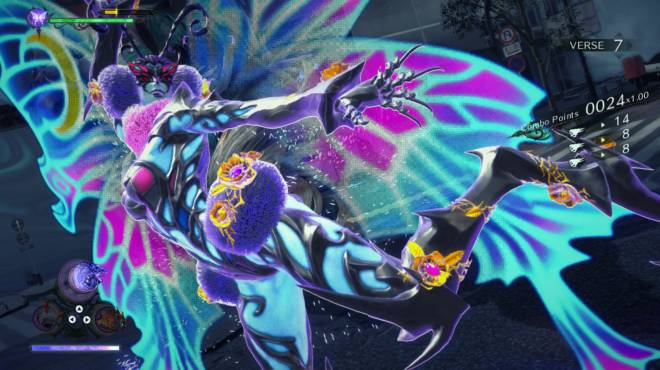 Bayonetta 3 as a colorful butterfly