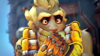 Overwatch's Junkrat holds his mouth shut.