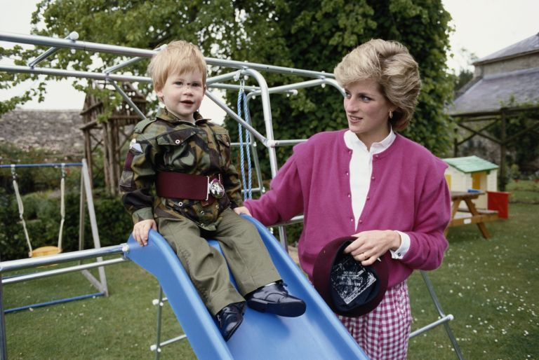 Prince Harry and Princess Diana share a moment at a playground