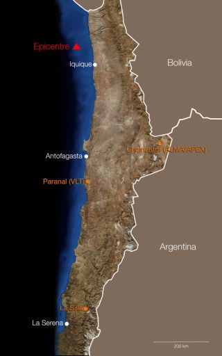 April 1, 2014, Chilean Earthquake Map