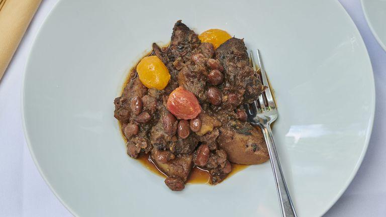 Braised beef and borlotti beans