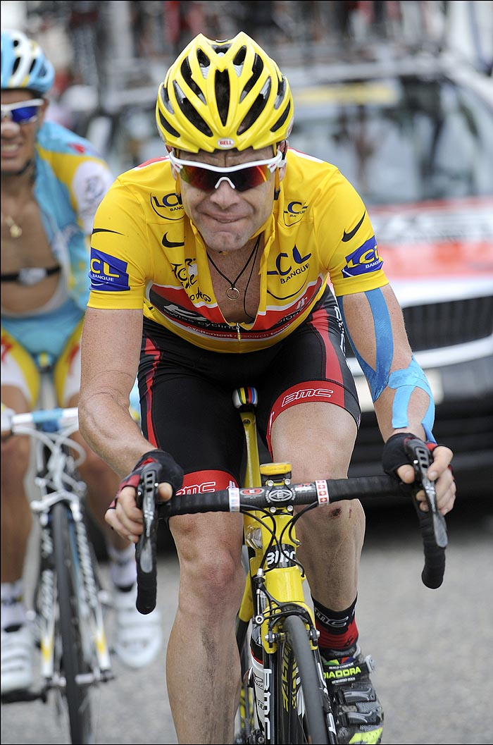Cadel Evans at the finish, Tour de France 2010, stage 9