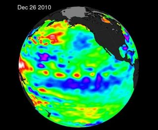 A satellite image reveals cooler ocean waters near the equator in the Pacific.