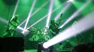 Guitarist Bill Steer, drummer Daniel Wilding, singer/bassist Jeff Walker and guitarist Tom Draper of Carcass perform during Psycho Las Vegas at the Mandalay Bay Events Center on August 17, 2019 in Las Vegas, Nevada.