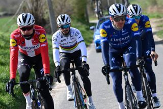 Danish Kasper Asgreen of Deceuninck QuickStep French Julian Alaphilippe of Deceuninck QuickStep and French Florian Senechal of Deceuninck QuickStep pictured during a training session on the track of the Ronde van Vlaanderen cycling race Friday 02 April 2021 The 105th edition of the cycling race will take place on Easter Sunday 04 AprilBELGA PHOTO DIRK WAEM Photo by DIRK WAEMBELGA MAGAFP via Getty Images