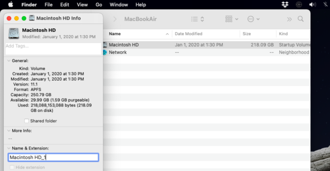 How to rename a disk on macOS