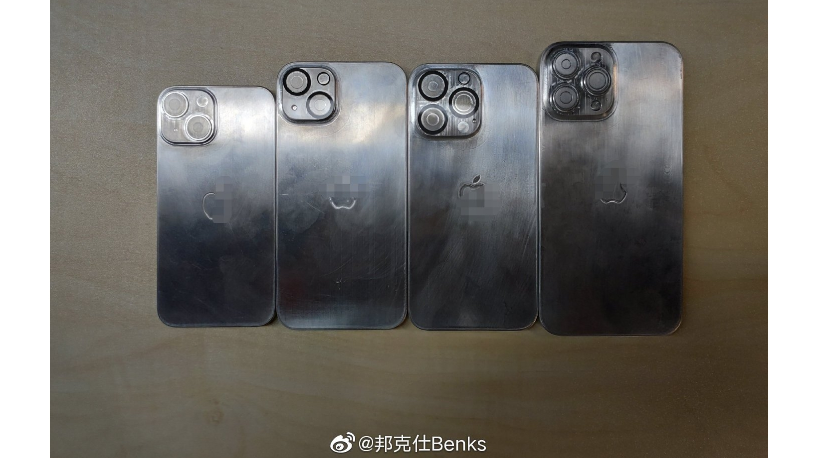 A photo showing chassis models of the iPhone 13 range