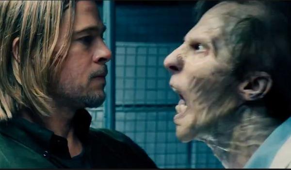 World War Z Brad Pitt faces zombie