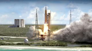NASA¹s Space Launch System rocket will launch the Orion spacecraft that will carry astronauts to the moon.