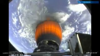 SpaceX Falcon 9 Rocket Looking Back at Earth