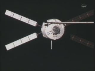 Photo of Europe's ATV-2 Johannes Kepler, a robotic cargo ship, as it docks at the International Space Station on Feb. 24, 2011.