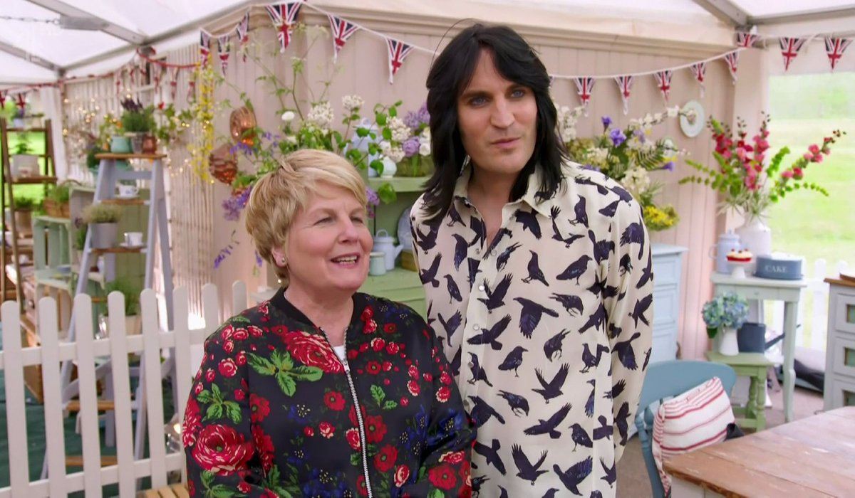 Great British Baking Show Noel and Sandi announcing to the bakers