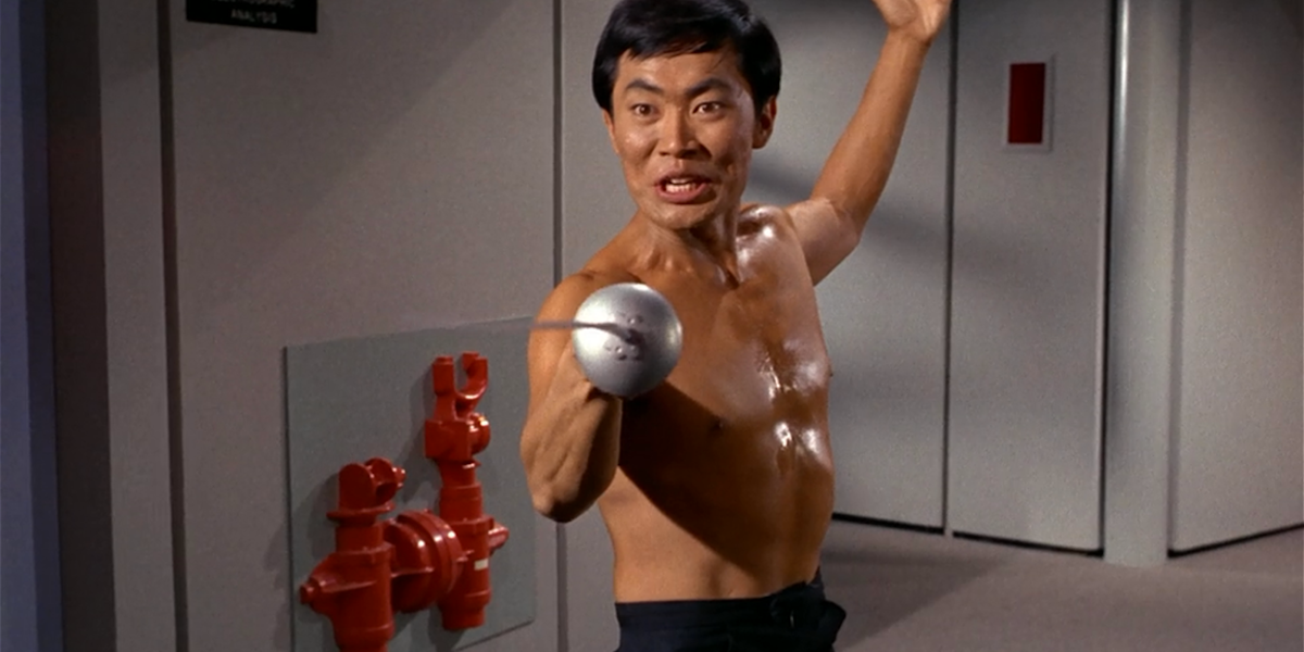 George Takei wielding a sword in Star Trek's The Naked Time episode