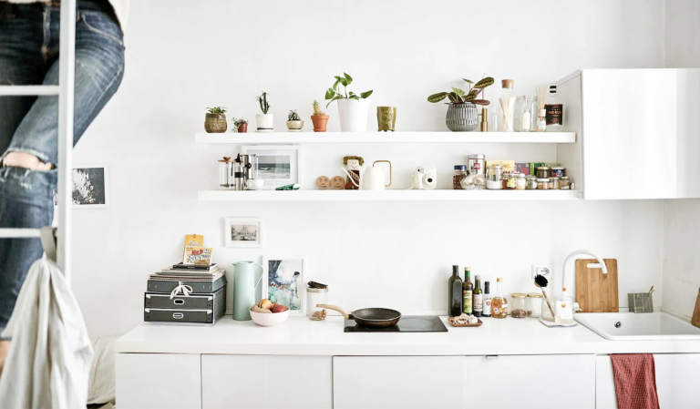 Ikea kitchen storage in a small apartment