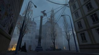An image of a foggy eastern european square from an unfinished Half-Life 2 map.