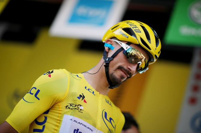 Julian Alaphilippe (Deceuninck-QuickStep) in the yellow jersey at the Tour de France