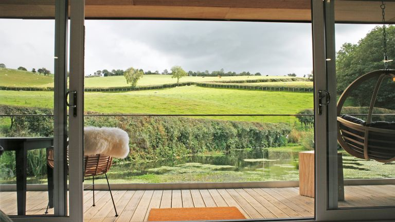 Most popular Airbnb's in the UK, view from the Pond and Stars cabin in Wales