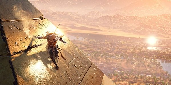 A pyramid and hieroglyphs from Assassin's Creed: Origins