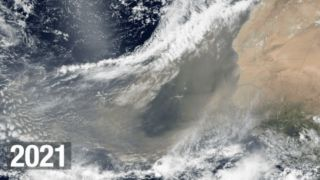 A massive plume of Saharan dust can be seen crossing the Atlantic Ocean in images captured by NASA's Earth-observation satellites.