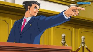 """An image of character Phoenix Wright in the courtroom. He is adopting his signature, raised finger """"Objection!"""" pose."""