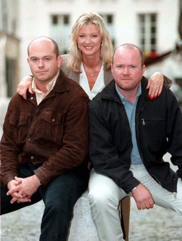 Ross Kemp as EastEnders favourite Grant, alongside Kathy and Phil Mitchell (Gillian Taylforth and Steve McFadden) in 1997 (Stefan Rousseau/PA)