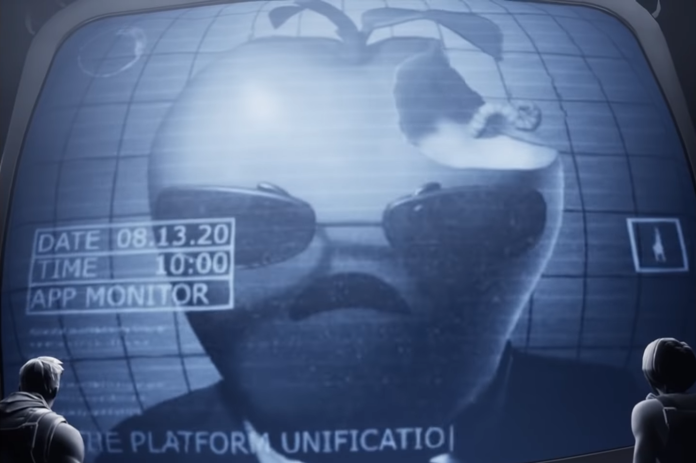 A Fortnite skins of an apple-headed character with sunglasses and a suit