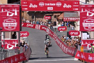 SIENA ITALY AUGUST 01 Arrival Annemiek Van Vleuten of The Netherlands and Team Mitchelton Scott World Champion Jersey Celebration during the Eroica 6th Strade Bianche 2020 Women Elite a 136km race from Siena to Siena Piazza del Campo StradeBianche on August 01 2020 in Siena Italy Photo by Luc ClaessenGetty Images