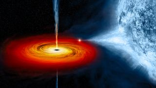 "The black hole Cygnus X-1 is pulling material from a massive blue companion star. That ""stuff"" forms an accretion disk around the black hole."