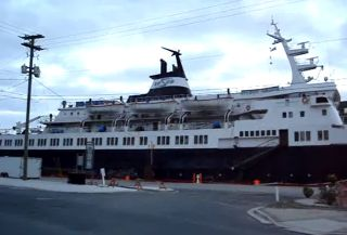 The Lyubov Orlova cruise ship in St. Johns.