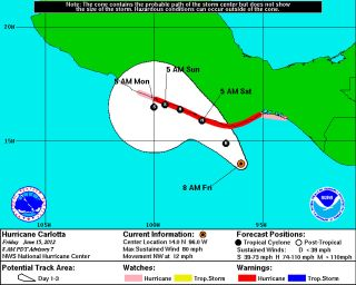 The projected path of Hurricane Carlotta