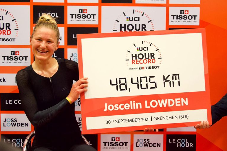 Joss Lowden celebrating her new Hour Record title