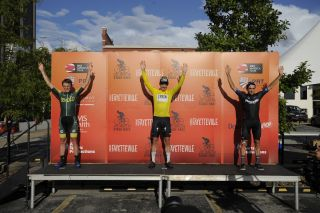 GC podium for 2021 Joe Martin Stage Race for pro men (L to R): Gage Hecht (Aevolo) second, Tyler Williams (L39ION of LA) winner, Oscar Seville (Team Medellin EPM) third
