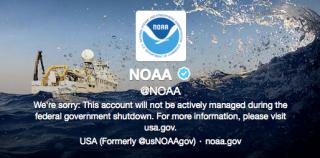 NOAA Twitter account screen shot