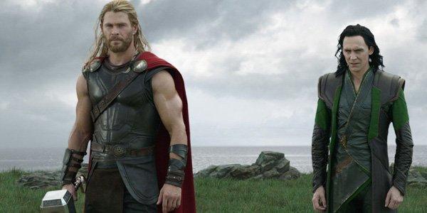 Thor and Loki on Earth with Mjolnir