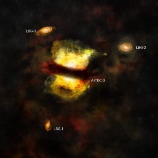 Artist's Impression of the Protocluster - ALMA